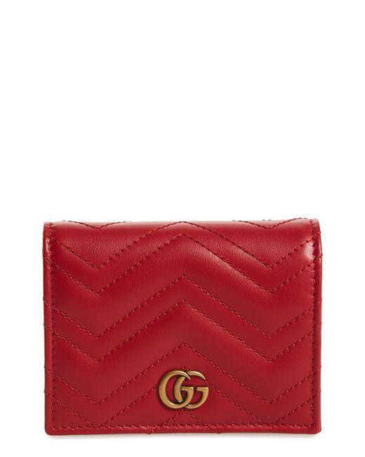 Gucci Gray Gg Marmont 2.0 Matelassé Leather Card Case