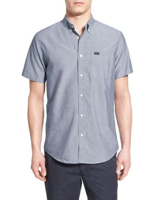 RVCA | Gray 'that'll Do' Slim Fit Short Sleeve Oxford Shirt for Men | Lyst