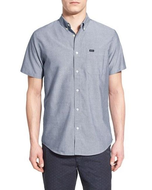 RVCA | White 'that'll Do' Slim Fit Short Sleeve Oxford Shirt for Men | Lyst