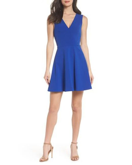 Felicity & Coco - Blue Back Cutout Fit & Flare Dress - Lyst