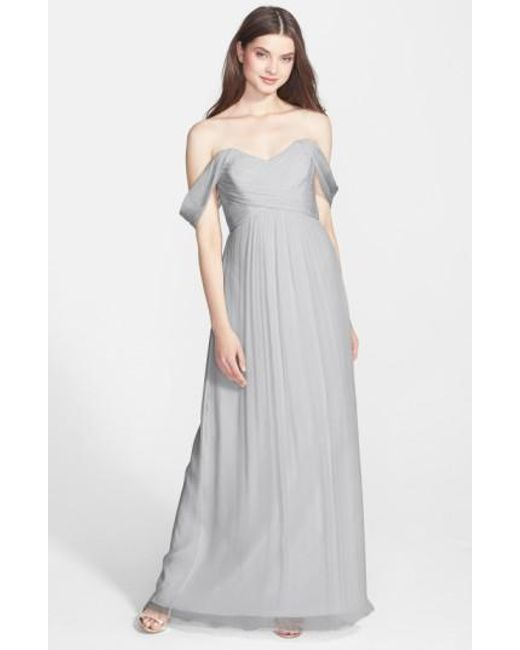 Amsale   Gray Convertible Crinkled Silk Chiffon Gown   Lyst