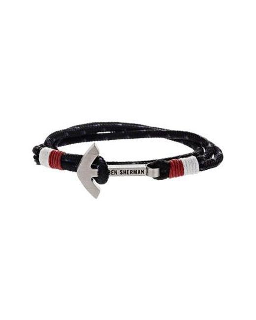 Ben Sherman   Black Anchor Braided Cord Bracelet for Men   Lyst