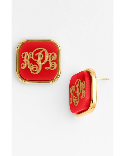 Moon & Lola - Metallic 'vineyard' Personalized Monogram Stud Earrings - Lyst