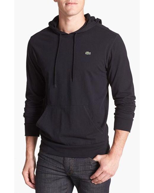 Lacoste | Black Jersey Hoodie for Men | Lyst