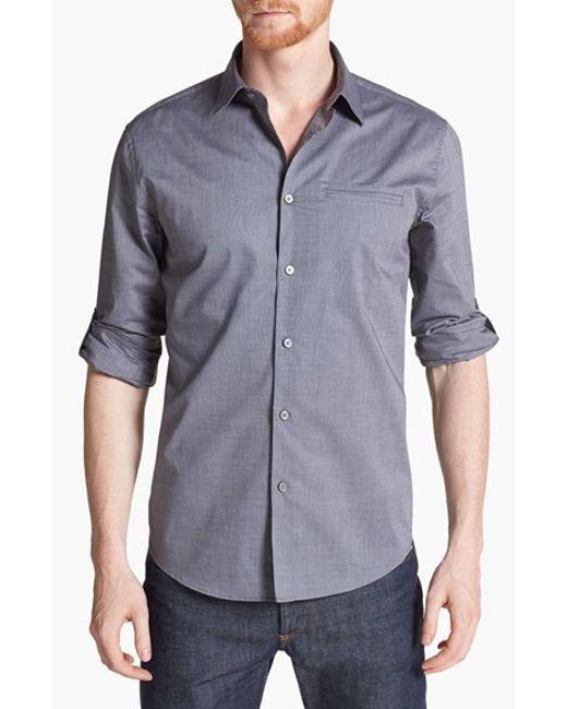 John Varvatos | Gray Slim Fit Cotton Woven Shirt for Men | Lyst