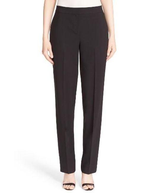 St. John | Black 'diana' Tropical Wool Pants | Lyst