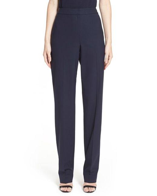 St. John | Blue Diana Tropical Stretch-Wool Pants | Lyst