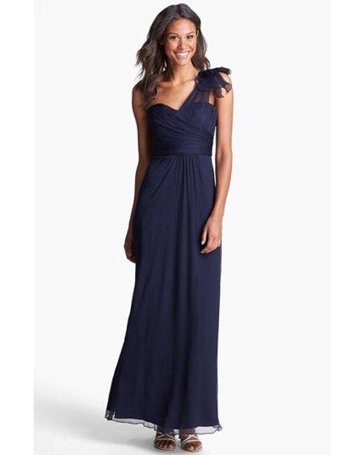 Amsale   Blue Illusion Shoulder Crinkled Silk Chiffon Dress   Lyst