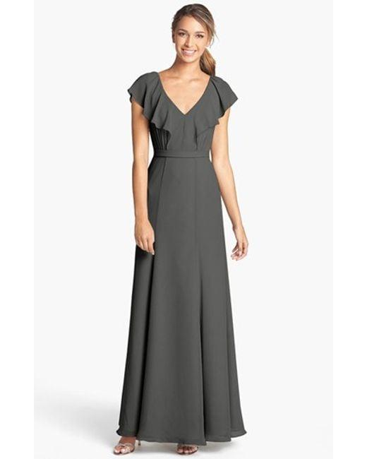 Jenny Yoo | Blue 'cecilia' Ruffled V-neck Chiffon Long Dress | Lyst