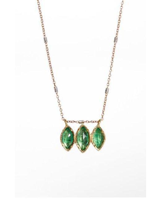 Brooke Gregson - Metallic Dew Drop Marquise Emerald Necklace - Lyst