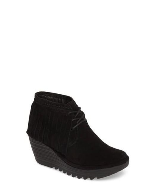 Fly London | Black Yank Fringe Wedge Bootie(women) | Lyst