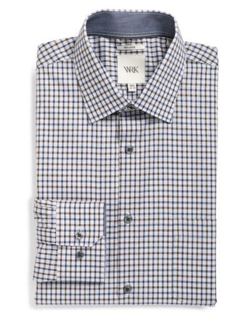 W.r.k. - Gray Extra Trim Fit Check Dress Shirt for Men - Lyst