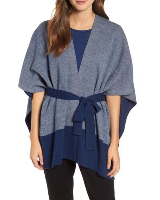 Eileen Fisher - Blue Merino Wool Sweater Poncho - Lyst