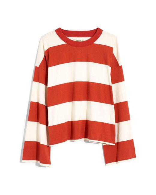 Madewell Red Easy Crop Long-sleeve Tee In Rugby Stripe
