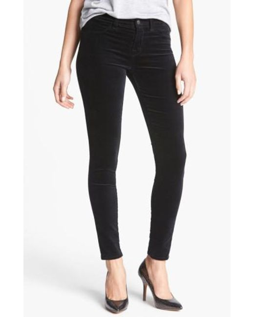 J Brand   Black '815' Mid Rise Velveteen Super Skinny Jeans   Lyst