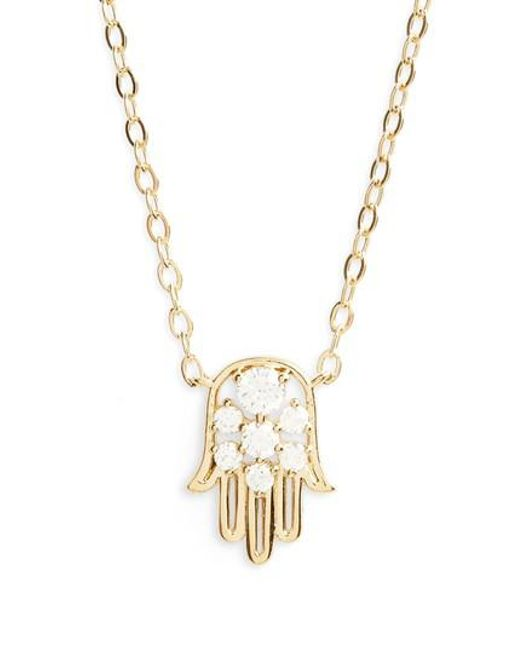 Nadri | Metallic Reminisce Cubic Zirconia Hamsa Pendant Necklace | Lyst