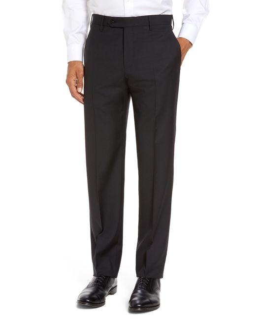 Zanella Black Parker Flat Front Sharkskin Wool Trousers for men