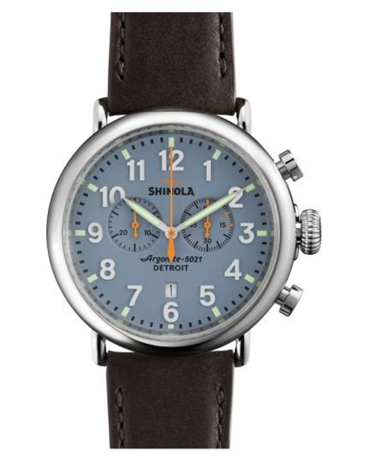 Shinola | Blue The Runwell Chrono Leather Strap Watch for Men | Lyst