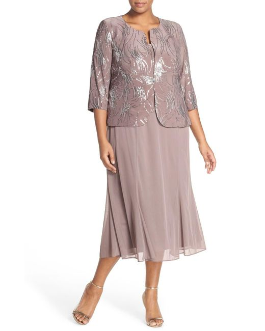Alex Evenings Brown Sequin Mock Two-piece Dress With Jacket