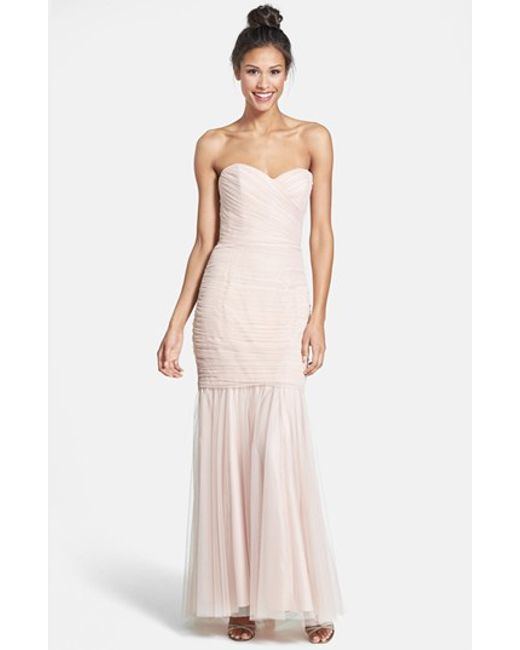 Amsale | Pink Strapless Tulle Mermaid Gown | Lyst