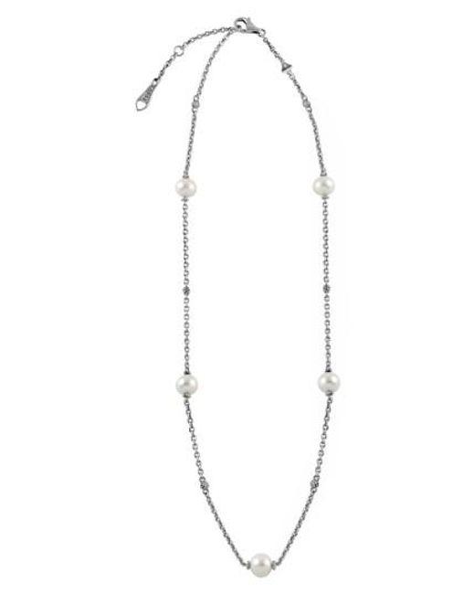 Lagos | Metallic 'luna' Pearl Station Necklace | Lyst