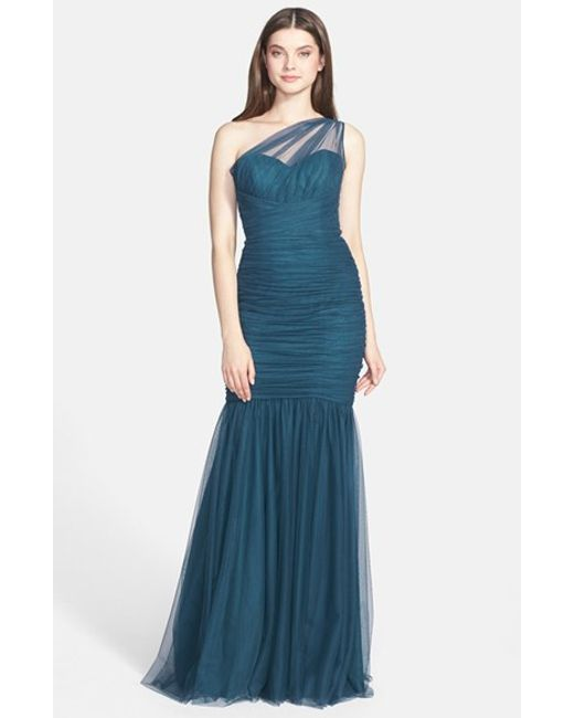 Amsale | Green One-shoulder Tulle Mermaid Gown | Lyst