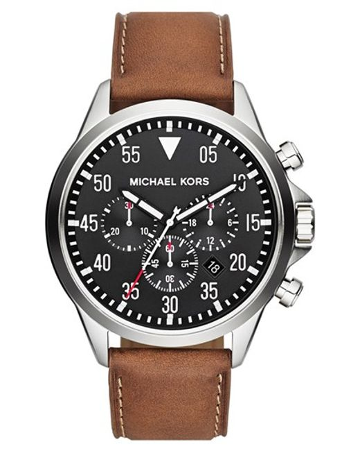 MICHAEL Michael Kors | Metallic Michael Kors 'gage' Chronograph Leather Strap Watch for Men | Lyst