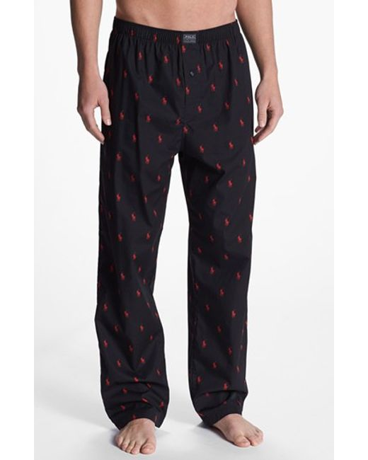 Polo Ralph Lauren | Black Cotton Lounge Pants for Men | Lyst