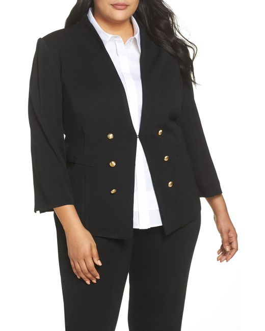 Ming Wang - Black Button Detail Sweater Jacket - Lyst