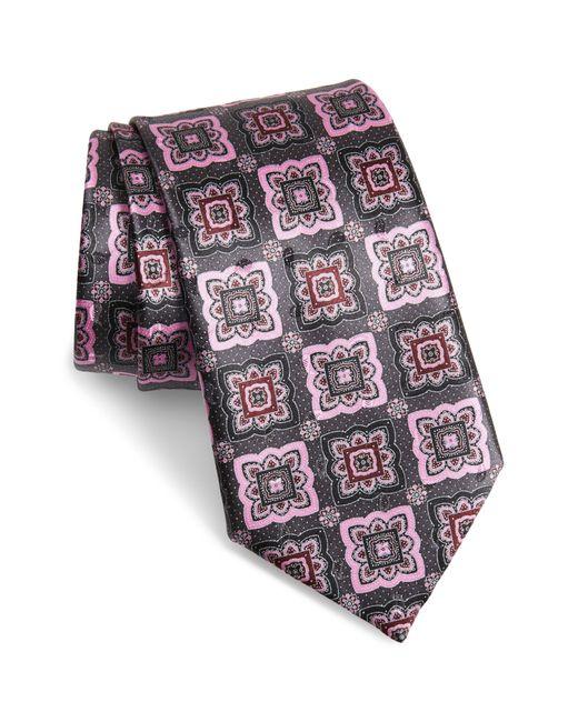 Ermenegildo Zegna Gray Medallion Silk Tie for men