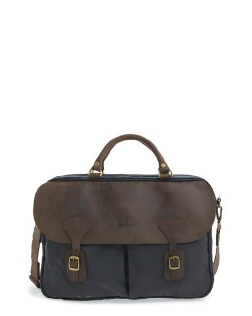 Barbour - Brown Waxed Canvas Briefcase for Men - Lyst
