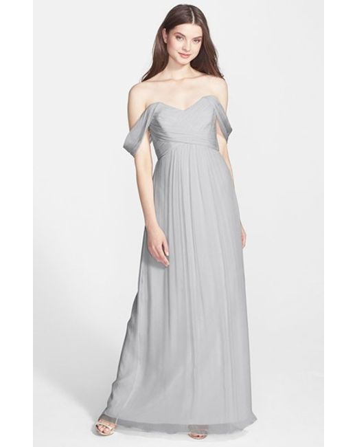 Amsale | Gray Convertible Crinkled Silk Chiffon Gown | Lyst