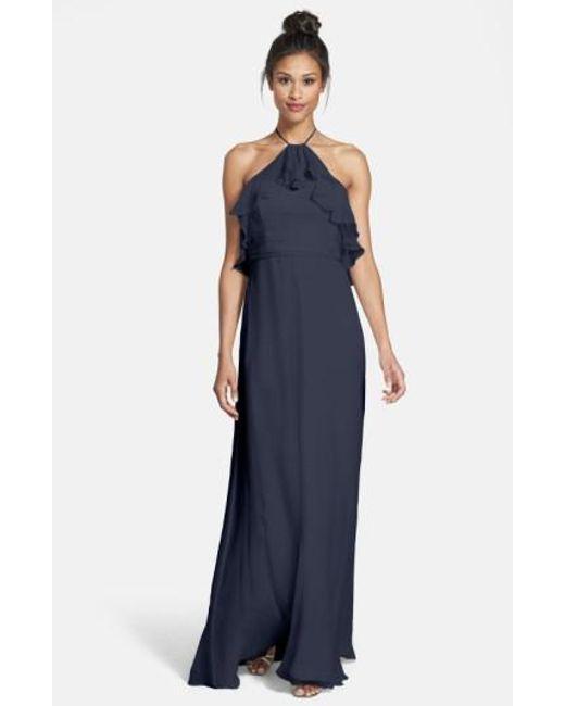 Amsale | Blue Ruffled Silk-Chiffon Gown | Lyst
