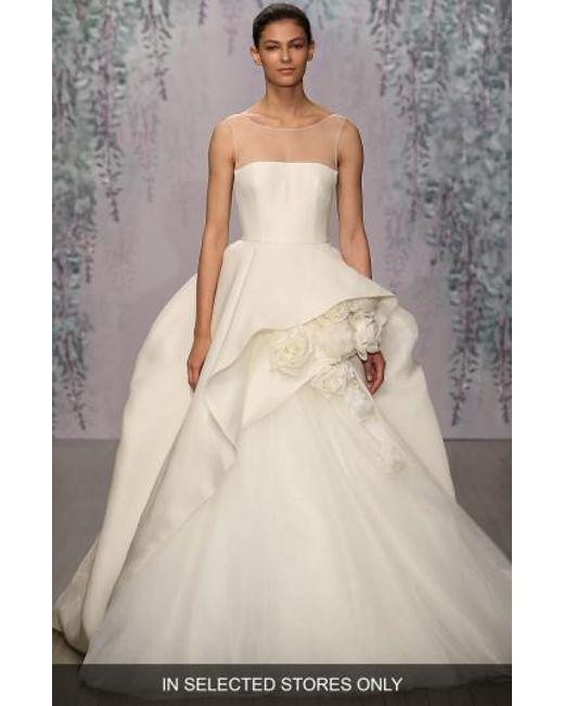Monique Lhuillier | White Rosette Detail Silk Ballgown Dress | Lyst