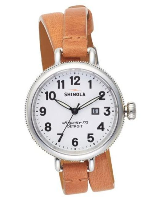 Shinola | Brown 'the Birdy' Double Wrap Leather Strap Watch | Lyst