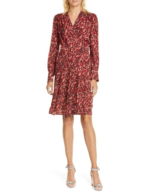 Equipment Red Jenesse Leopard - Print Wrap Dress