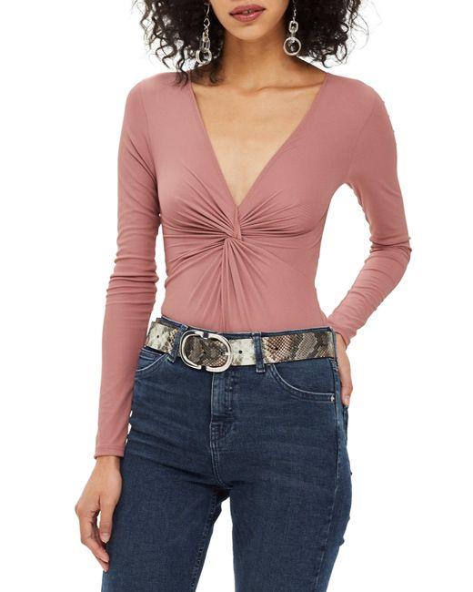 4262aa150e TOPSHOP Twist Bodysuit in Pink - Lyst