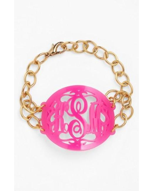 Moon & Lola | Pink 'annabel' Large Oval Personalized Monogram Bracelet (nordstrom Exclusive) | Lyst