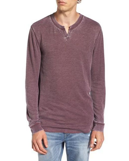 The Rail | Purple Notch Neck Thermal T-shirt for Men | Lyst