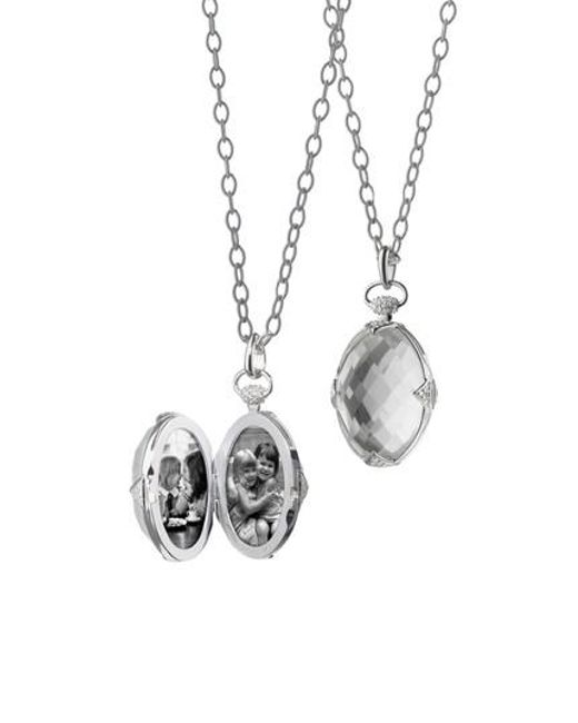 Monica Rich Kosann - Metallic Oval Stone Locket Necklace - Lyst