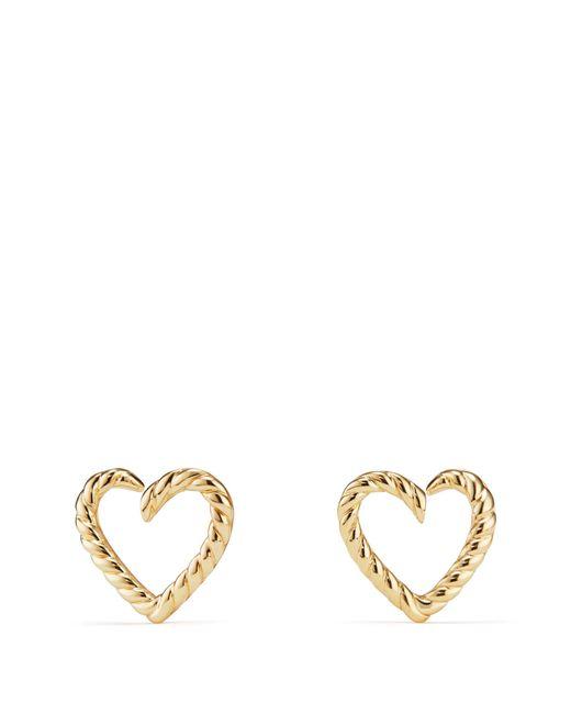 David Yurman - Metallic Cable Heart Earrings In 18k Gold - Lyst