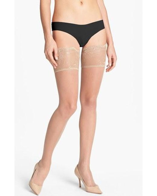 Donna Karan | Natural Donna Karan Lace Top Stay-up Stockings | Lyst