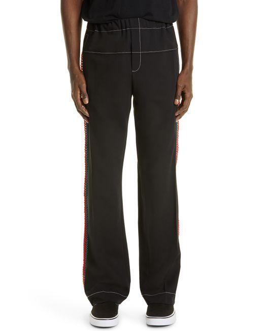 Wales Bonner Black Kingston Crochet Stripe Pants for men