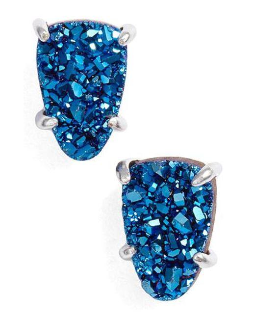 Kendra Scott Blue Harriet Drusy Earrings Lyst