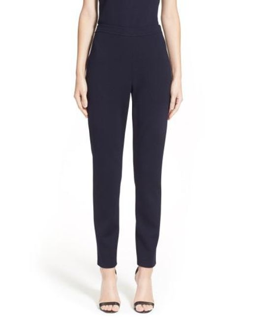 St. John | Blue Alexa Stretch-Knit Pants  | Lyst