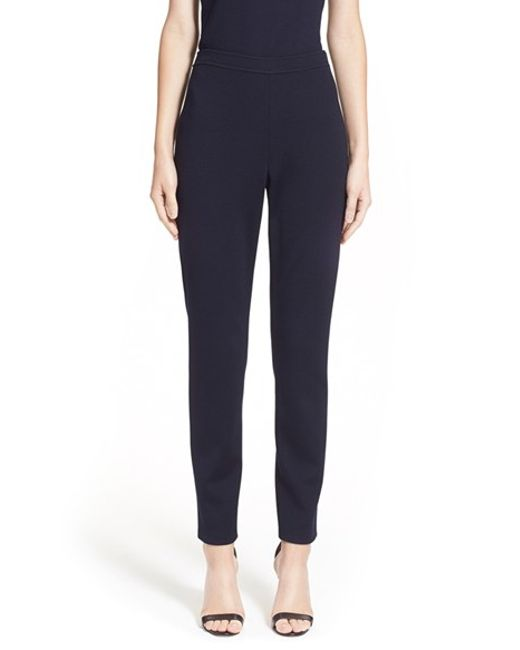 St. John | Blue 'alexa' Stretch Milano Knit Ankle Pants | Lyst