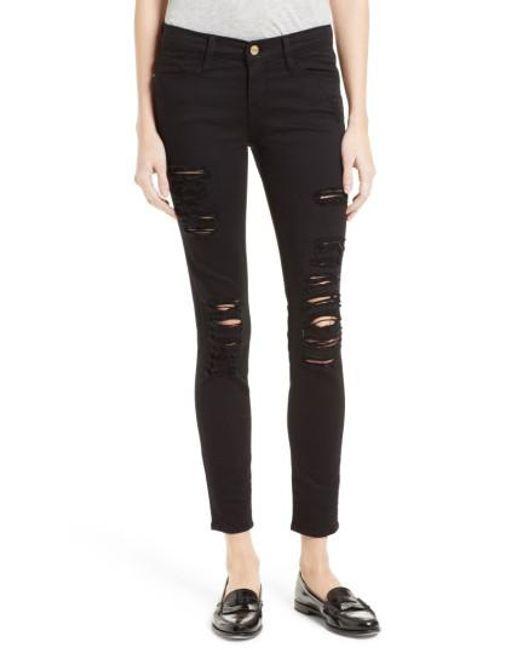 FRAME | Black Le Color Rip Skinny Jeans | Lyst