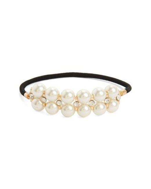 Cara | Metallic Pearly Bead Ponytail Holder | Lyst