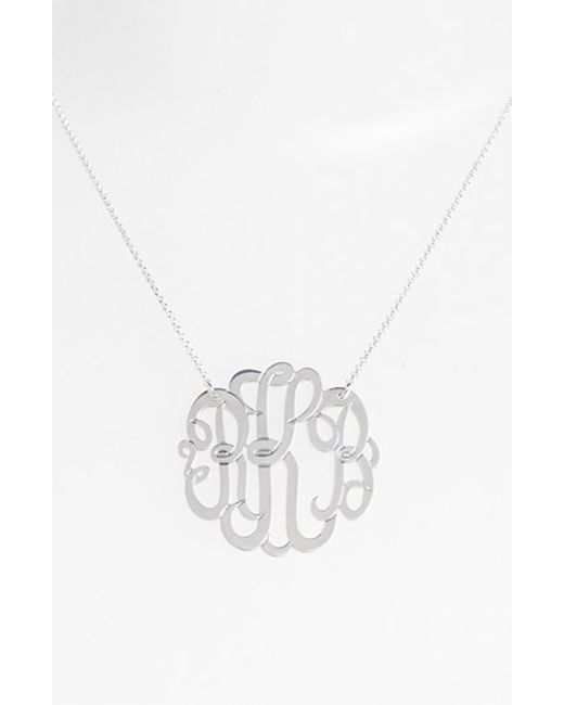 Argento Vivo | Metallic Personalized Large 3-initial Letter Monogram Necklace (nordstrom Exclusive) | Lyst