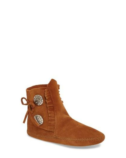 Minnetonka - Brown Two-button Softsole Bootie - Lyst